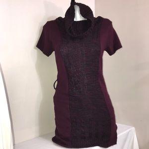 Point Zero Deep Burgundy Wine Turtleneck Dress